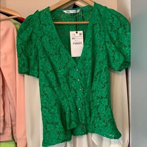 Lace Short Sleeve Blouse Zara XS Emerald Green